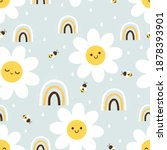 seamless pattern with daisy... | Shutterstock .eps vector #1878393901