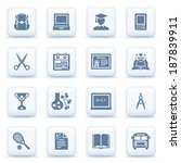 education blue icons on white... | Shutterstock .eps vector #187839911