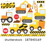 Construction Crew / Construction Vehicles - stock vector