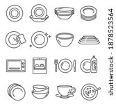 plates  bowls thin line icons... | Shutterstock .eps vector #1878523564