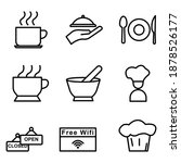 restaurant line icon set.... | Shutterstock .eps vector #1878526177