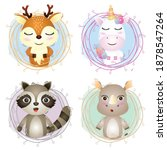 Set Of Cute Animals Cartoon In...