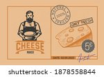 price tag cheese with cheese... | Shutterstock .eps vector #1878558844