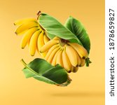 Small photo of Fresh ripe baby bananas with leaves falling in the air isolated on yellow background. Food levitation concept. High resolution image