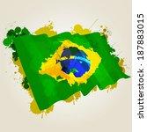 grunge brazil flag splattered... | Shutterstock .eps vector #187883015
