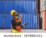 A Foreman Working At Container...