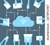cloud computing paper cutout... | Shutterstock .eps vector #187891487