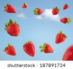 falling strawberries | Shutterstock . vector #187891724