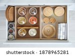 Open Drawer With Different Jars ...