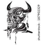 vector illustration of a skull... | Shutterstock .eps vector #187902329