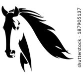 Stock vector horse head with flying mane black and white vector design 187905137