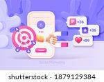 digital social marketing.... | Shutterstock .eps vector #1879129384