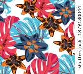 rainforest flowers and leaves....   Shutterstock .eps vector #1879130044