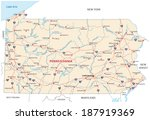 pennsylvania road map - stock vector