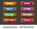 set of wooden buttons with...