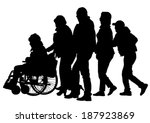 silhouettes wheelchair and... | Shutterstock .eps vector #187923869