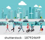 skyline skyscrapers  and people ... | Shutterstock .eps vector #187924649