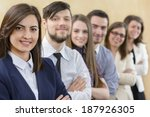 businesspeople standing in a row | Shutterstock . vector #187926305