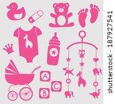 baby girl first toys set | Shutterstock .eps vector #187927541