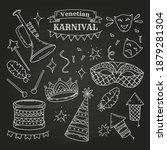carnival symbols in doodle... | Shutterstock .eps vector #1879281304