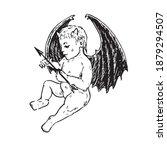 little cute devil baby holding...   Shutterstock .eps vector #1879294507