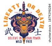 liberty ot death slogan print...   Shutterstock .eps vector #1879298284