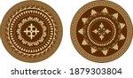 greek circular ornament in gold ... | Shutterstock .eps vector #1879303804