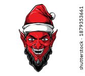 devil santa head vector artwork | Shutterstock .eps vector #1879353661