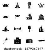 carnival vector icon set solid...