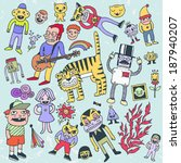 funny doodles. vector... | Shutterstock .eps vector #187940207