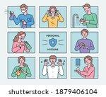 personal hygiene manual. people ... | Shutterstock .eps vector #1879406104