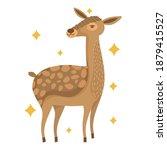 Cute Reindeer Animal With Stars ...