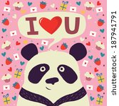 panda says i love you | Shutterstock .eps vector #187941791