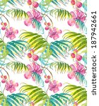 tropical flowers seamless... | Shutterstock . vector #187942661