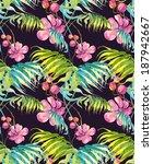 tropical flowers seamless... | Shutterstock . vector #187942667