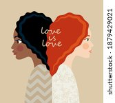 interracial lesbian couple. two ...   Shutterstock .eps vector #1879429021