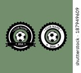 Emblem and logo for soccer club with ribbon for your text