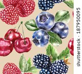 seamless pattern with berry | Shutterstock . vector #187950095