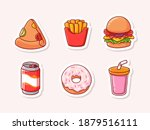 cute fast food  pizza  french... | Shutterstock .eps vector #1879516111