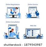 business negotiations online... | Shutterstock .eps vector #1879543987