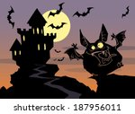 halloween background with... | Shutterstock .eps vector #187956011