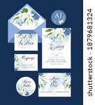 wedding invitation card with...   Shutterstock .eps vector #1879681324