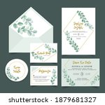 wedding invitation card with...   Shutterstock .eps vector #1879681327