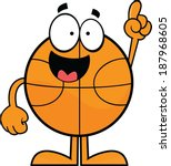 Cartoon illustration of a basketball character with one finger raised.  - stock vector