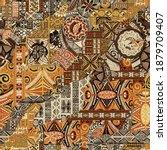 hawaiian style tapa fabric...   Shutterstock .eps vector #1879709407