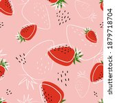 Strawberry Abstract Hand Drawn  ...