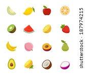 fruit full color flat design...   Shutterstock .eps vector #187974215