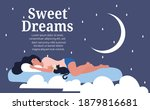 sweet dreams concept with woman ... | Shutterstock .eps vector #1879816681