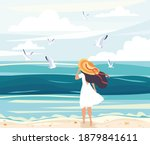 Woman In A Straw Sunhat At The...
