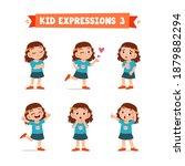 cute little kid girl in various ... | Shutterstock .eps vector #1879882294